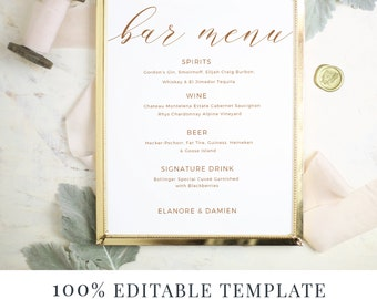 Wedding Bar Menu Template, Editable Bar Menu Printable, Word or Pages, Mac or PC, Rustic Calligraphy, Instant DOWNLOAD