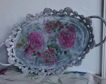 Shabby Pink Roses, Metal Tray, French Vintage Oval Tray,