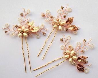 Rhinestone Hair Pins, Bridal Hair Pece, Pearl Headpiece, Crystal  Hair Pins, Silver Hair Pins, Rose Gold hair Pins, Freshwater Pearls