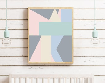 Pastel Color Modern Abstract Wall Art Print - Colorful Abstract Art - Geometric Abstract Wall Art - Modern Nursery Decor - Modern Home decor
