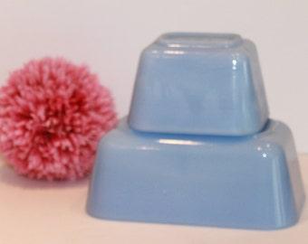 Pyrex Delphite - Delphite Blue Pyrex - Pyrex 501 - Pyrex 502 - Canadian Pyrex - Refrigerator Dishes - Blue Pyrex