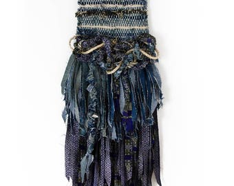 Indigo, Woven Wall Hanging, Tapestry, Weaving