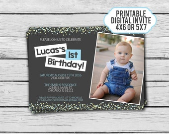Boy First Birthday Invitation - Boys Birthday Invite - Digital Invitation