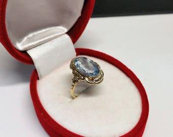 Old gold ring 333 aquamarine vintage noble GR313