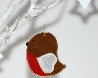 Glass Robin Decoration with Heart Wing - Handmade Fused Glass Bird Decoration