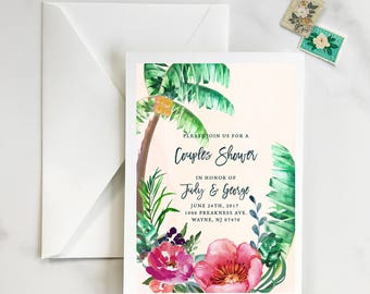 Tropical Save the Date, Palm Tree Save the Date, Destination Beach Save the Date, Bright Floral Palm Tree, Palm Leaves   - DEPOSIT