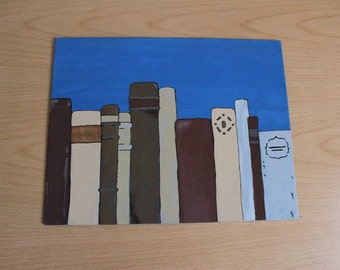 """Books Painting - A row of assorted brown, tan, gray, and burgundy old-timey books on a royal blue background, book painting. 11""""x14"""" Acrylic"""