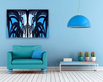 Architectural large scale print, blue abstract modern art work, large graphic sofa art for office, large canvas print ideal for apartment