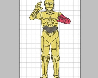 Star Wars C-3PO Droid with Optional Red Arm Embroidery Design in 2 sizes & PES +3 formats
