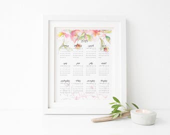 2018 Printable Calendar, Floral Wall Calendar, Office decor, Printable calendar, 2018 calendar, yearly calendar, feminine home office decor