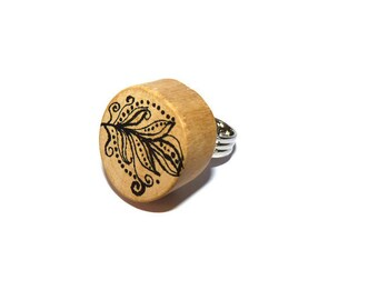 Ring wooden pen-ring wood jewel-woman-natural-ring jewelry-boho wood adjustable piece unique-handmade