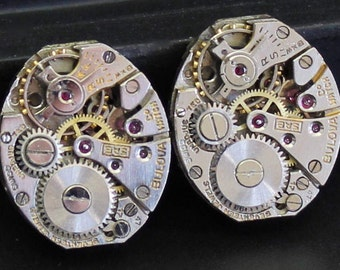 Pair Bulova Watch Movements, Oval Watch Movements, Watch Parts for Earrings, Cuff links, Steampunk Art (#BU31)