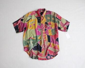 funky print blouse | ethnic blouse | 90s print blouse