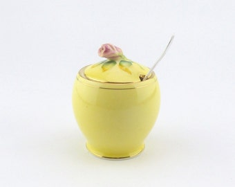 Royal Winton Grimwades Rose Jam Pot - Marmalade Pot - Preserve Dish - Yellow and Floral Design - Housewarming Gift - Birthday Gift