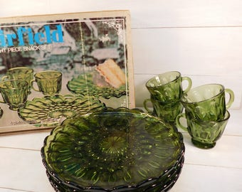 Vintage Anchor Hocking Fairfield 8 Piece Snack Set, Avocado Green Dishes, 1970's Green Glass Snack Set
