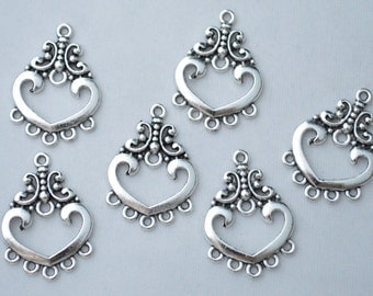 8 Pcs Earring Connector Charms Antique Silver Tone 19x26mm - YD1359