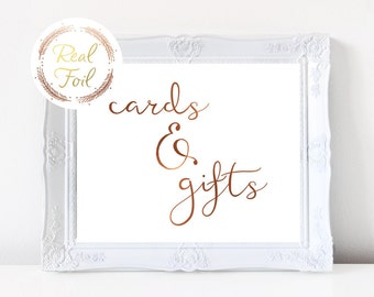 Cards and Gifts Sign, Party Decoration, Copper Foil Print, Gold Foil Print, Wedding Reception Sign, Wedding Decoration, Bohemian Wedding S2