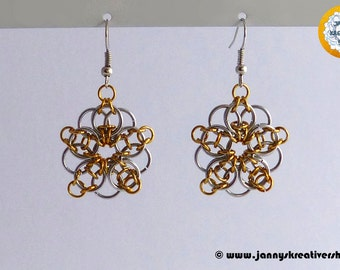 Earrings Celtic star in golden yellow - silver color, Chainmaille
