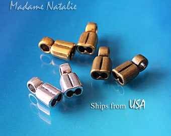 Double End Caps 3x2mm (10), Silver, Gold, Bronze Tone Twin Cord Endings, Bead Stopper, End Caps for Leather, Double Strand Jewelry Findings