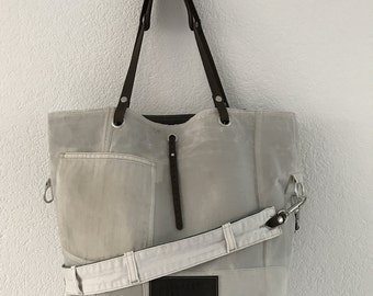 Large waxed canvas and leather tote bag, market bag