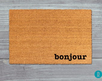 Bonjour Doormat, Bonjour Door Mat, Bonjour Welcome Mat, French Doormat, French Door Mat, French Welcome Mat, Bonjour Mat, French Mat, France