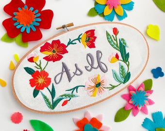 As If | Gift for Her | Clueless | 90s Movie | Wall Art | Machine Embroidery | Floral Art | Cloth and Twig