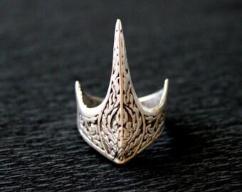 Men's Boho Ring, Antique Silver Men's Ring, Bohemian Men Ring, Ethnic Men Ring, Statement Men Ring, Tribal Men Ring,  Spike Ring, Spear Ring