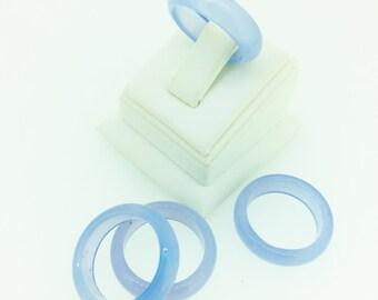 blue Agate Ring 6mm positive energy geode men women metaphysical