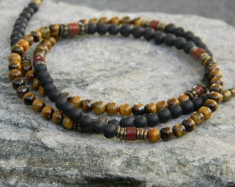 Tiger Eye Black Onyx Necklace for Men, Tribal Necklace, Minimalist, Mens Beaded Necklace, Jewelry for Guys, Gift for Dad, Casual Mens