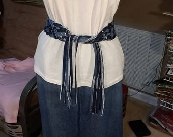 Denim belt, Boho, Scarf, Eight Strand Braided Tie belt, Fabric, Jeans, upcycled, Matching Braided Bracelet