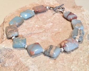 Green bracelet, African opal diamond and rectangle bead bracelet, Hill Tribe silver bracelet, unique bracelet, sundance style bracelet