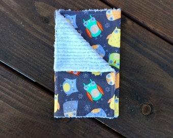 Burp Cloth <<Owls & Flowers>> Baby/Toddler/Drool//Gray//Yellow//Orange//Green//Mint//Flower