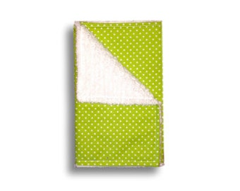 Burp Cloth <<Lime Green Polka Dots>> Baby/Toddler/Drool//White