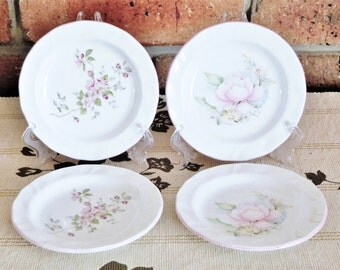 Jason Works Nanrich Pottery Staffordshire England 1980s fine bone china small floral side bread cake plates, high tea