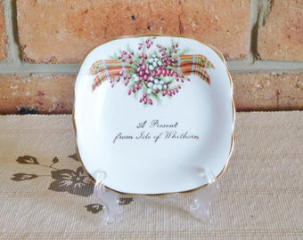 Vintage 1960s souvenir dish 'A Present from the Isle of Whithorn' Scotland tartan Heather bone china