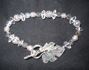 "Herkimer ""Diamond""-Pave Rhinestone-Silver-tone Beaded Bracelet with Leaf Toggle Clasp"