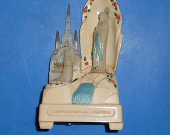 Vintage French Music box from Lourdes, Virgin MARY, St Bernadette,  Religious, French