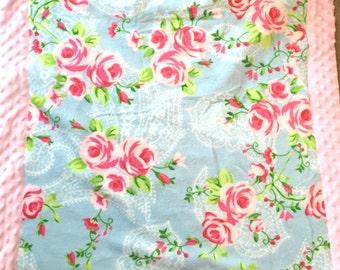 Pink Floral Minky Baby Blanket