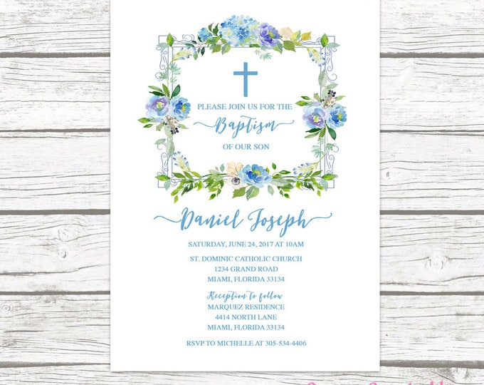 Baptism Invitation Boy, Blue Christening Invitation, First Communion Invitation Boy, Watercolor Baptism Invitation, Printable Invite