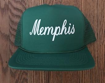 Vintage Memphis Tennessee Vacation Tourist Travel Mesh Trucker Hat Snapback Hat Baseball Cap