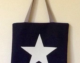 Star Handbag,tote bag, book bag,denim bag,Star bag,denim and white star handbag,Fabric Shopping bag,shoulder bag