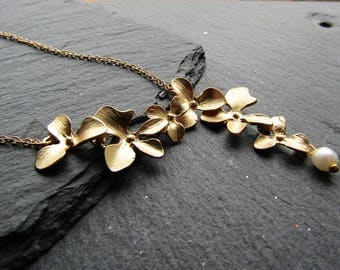 Gold Plated Cascading Orchids Necklace, Japanese Necklace, Oriental Necklace, Orchid Necklace, Floral Necklace, Orchid Jewelry, Orchids