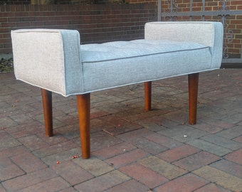 Walnut Mid Century Upholstered Bench - Tufted~ Design 59 inc