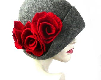 Gray Felt Hat, Felted Hat, Cloche Hat, 1920 Hat ,Art Hat, Gray Hat, Cloche, Victorian Hat,1920's Hat, Wool Hat,Women's hat,Gatsby Hat