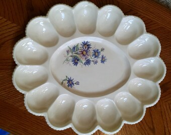 Deviled Egg Plate Platter Ivory with Purple-Blue Flower Design - Vintage Oval Egg Plate - Holds 15 Eggs - Country Cottage  Kitchen Decor