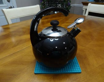 Vintage Enamel Black Whistling Tea Kettle - Black Enamel Tea Kettle