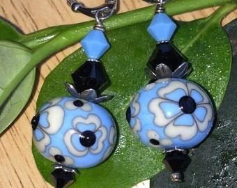 Blue black white flower lampwork earrings, Sterling European leverbacks and Swarovski Crystals