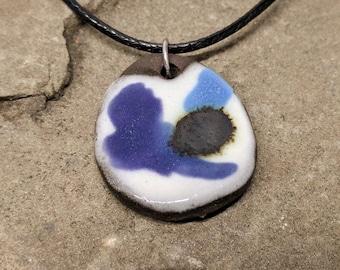 Purple White Pendant, Purple White Ceramic Necklace, Modern Art Jewelry, Handmade Ceramic Pendant, Minimalist Pendant, Purple White necklace