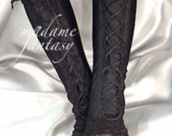 XX Long black spandex lace up fingerless gloves lace cuffs
