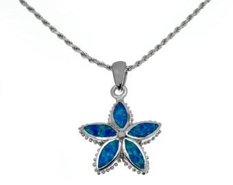 silver flower pendant with blue opal,flower necklace,flower jewelry,blue opal pendant,silver flower necklace,statement pendant,boho chic